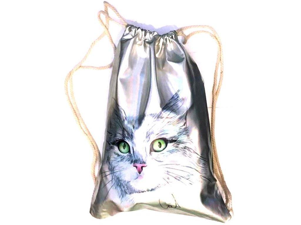 batoh kočka hologram holografický batůžek s kočkou kočičí 3