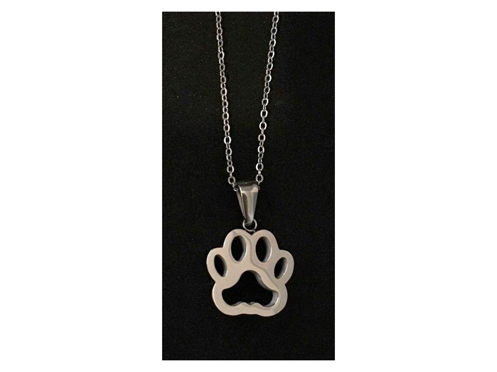 přívěsek náhrdelník tlapka masivní kočičí s kočkou ocelový 3
