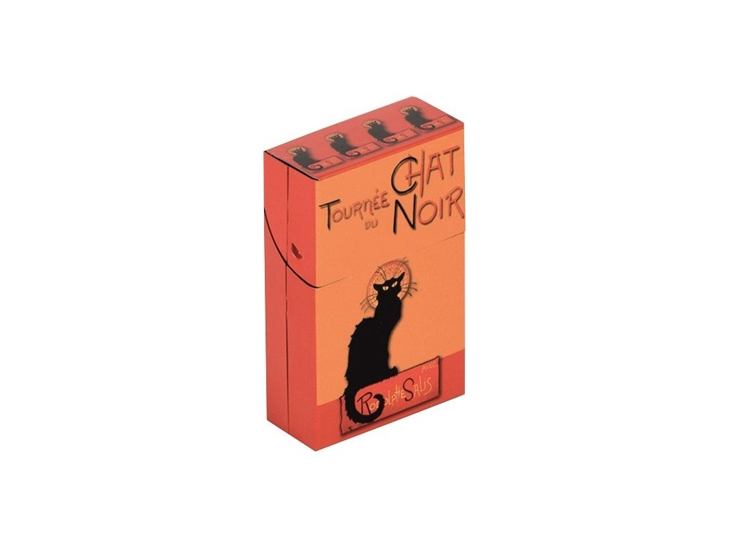 krabička na cigarety kočka s kočkou kočičí chat noir