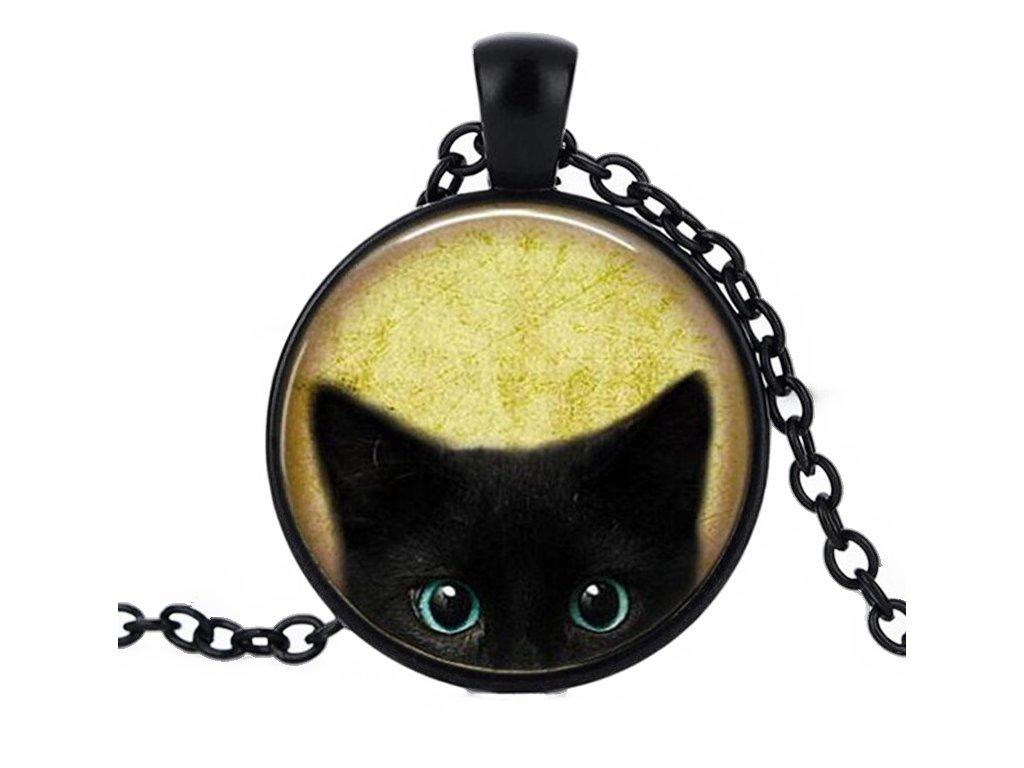 přívěsek náhrelník kočka černá s kočkou kočičí