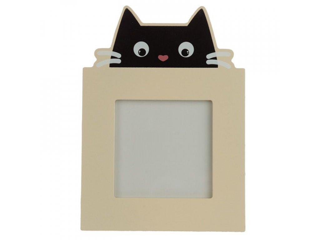 rámeček na fotku fotorámeček kočka s kočkou kočičí dřevěný