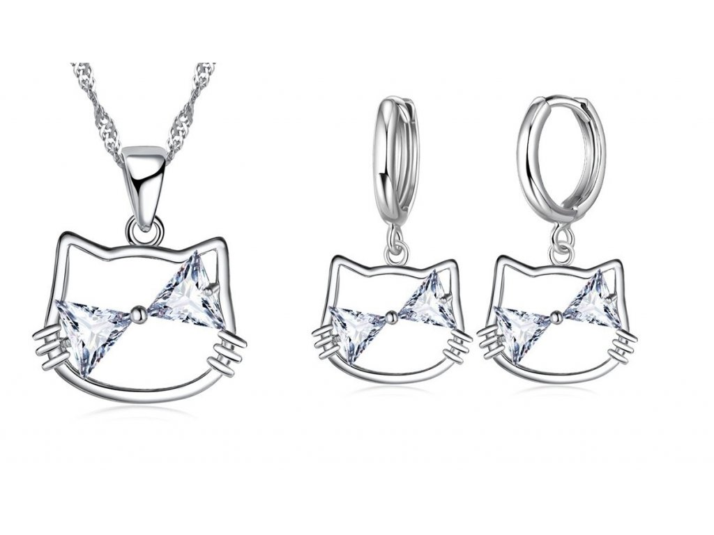 sada set náušnice náhrdelník krystal hello kitty kočka s kočkou kočičí kotě