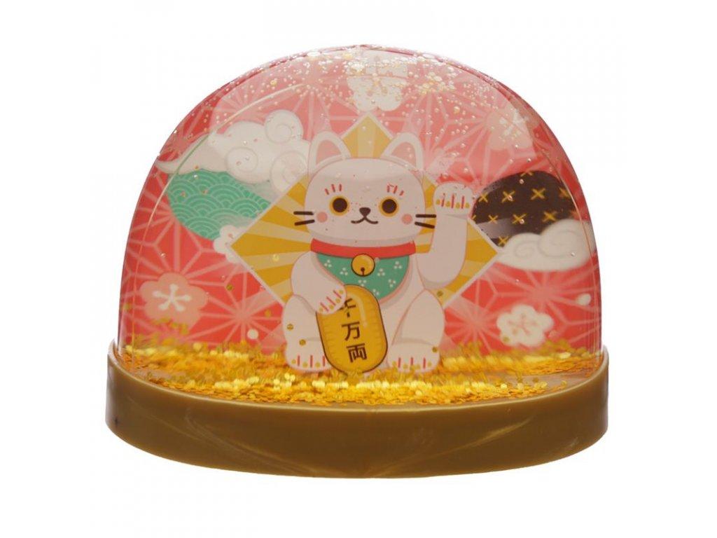 sněžísko kočka s kočkou štěstí maneki neko