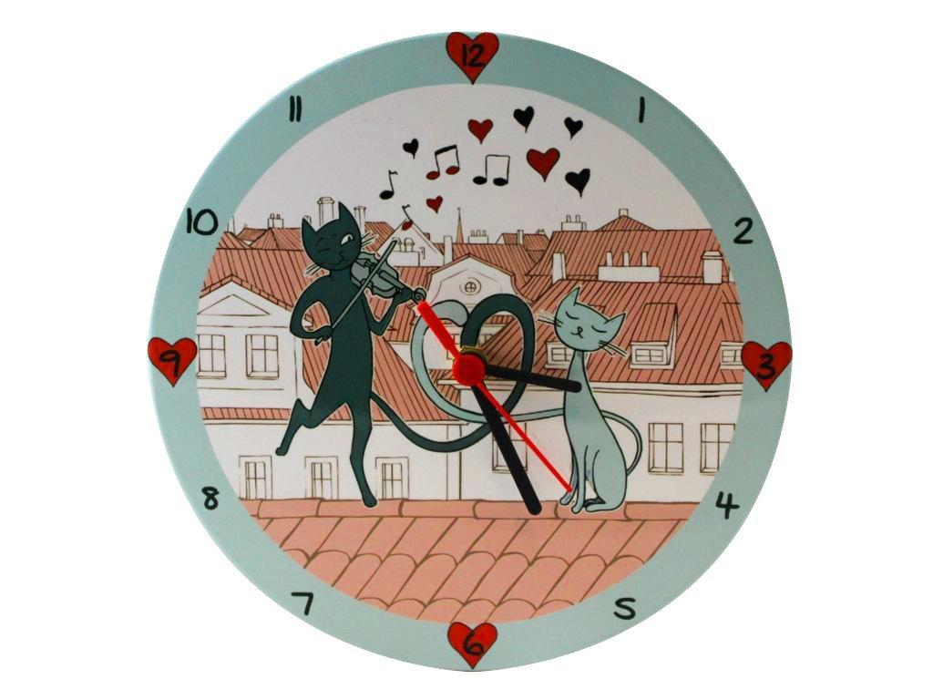 keramické nástěnné hodiny kočka s kočkou kočičí