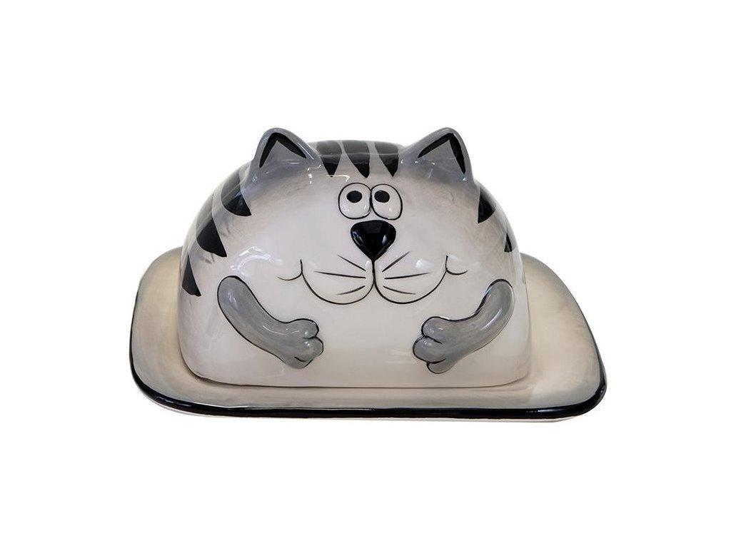 máslenka na máslo kočka s kočkou kočičí kocour keramická