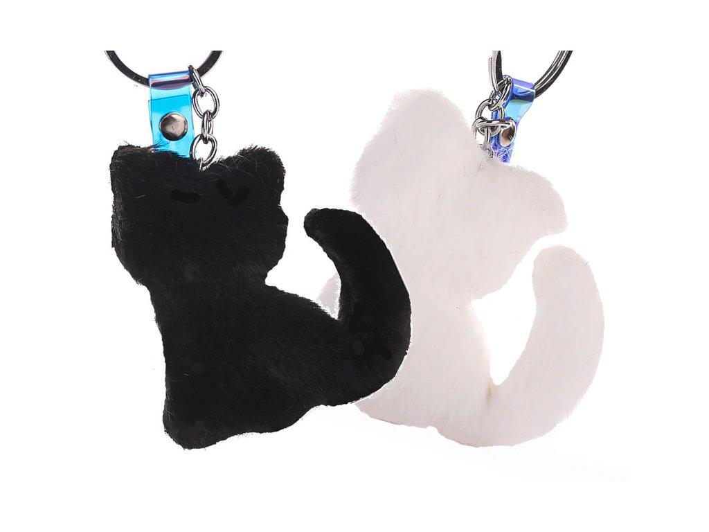 plyšová kočka klíčenka kočka s kočkou kočičí černá bílá