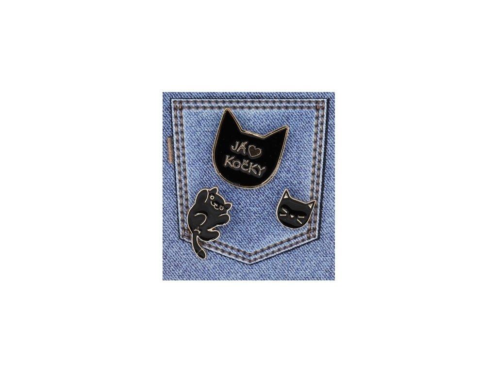 sada brož černá kočka s kočkou kočičí emailová set