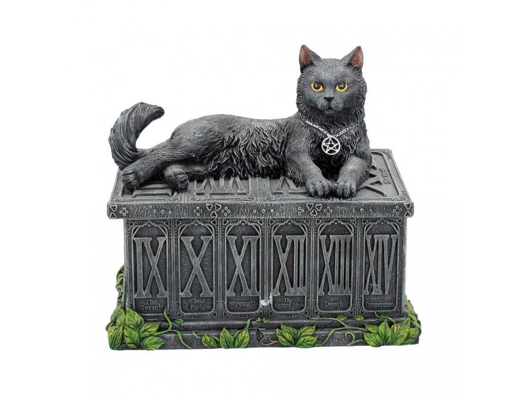 krabička kočka s kočkou kočičí šperkovnice na tarotové karty pentagram