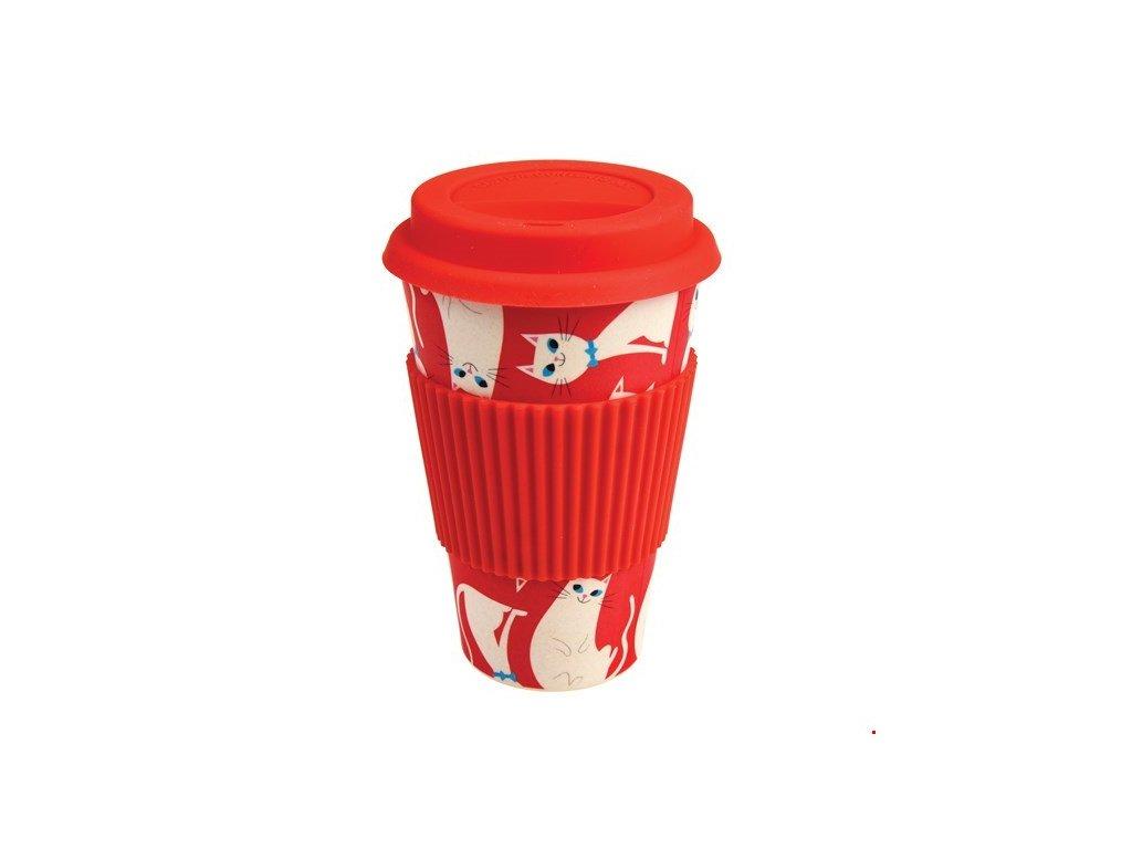 cestovní kelímek bambusový kočka s kočkou kočičí červený
