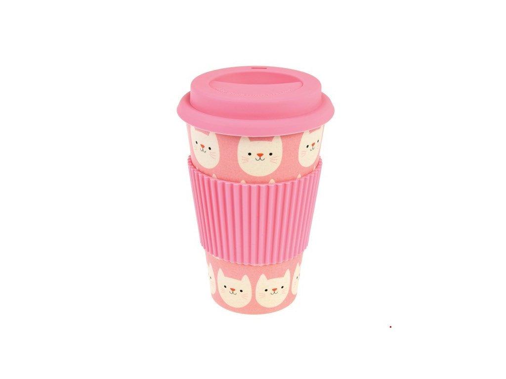 cookie bambusový cestovní kelímek na čaj kávu kakako s kočkou kočka kočičí