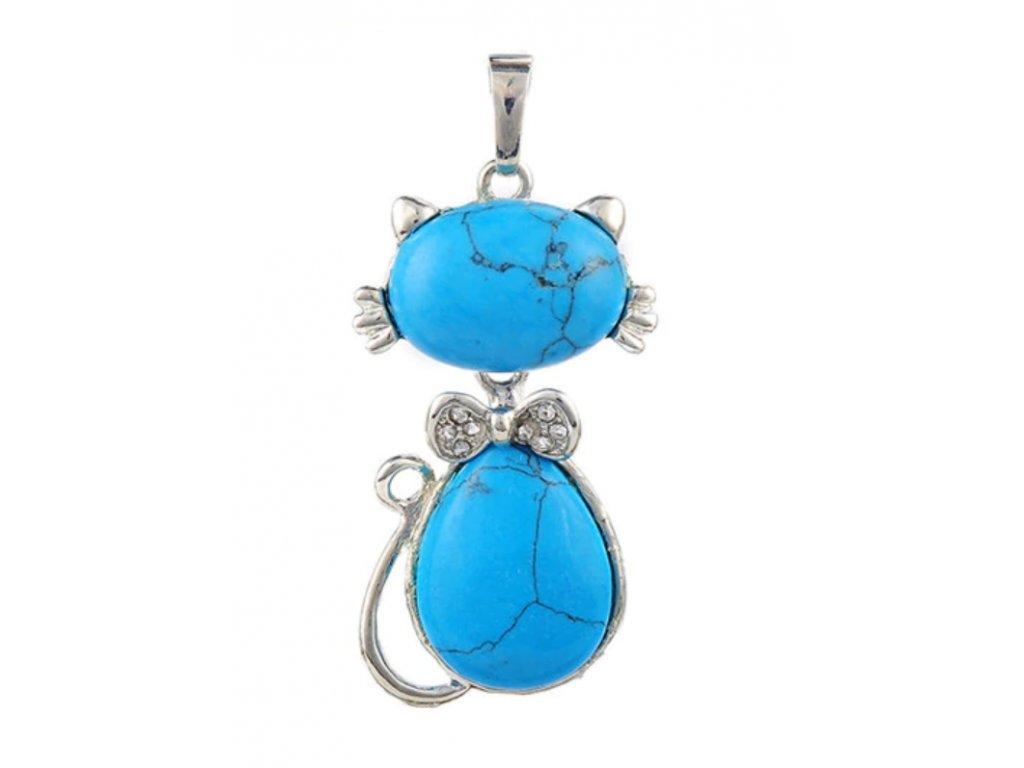 přívěsek kočka s kočkou kočičí kámen tyrkys náhrdelník