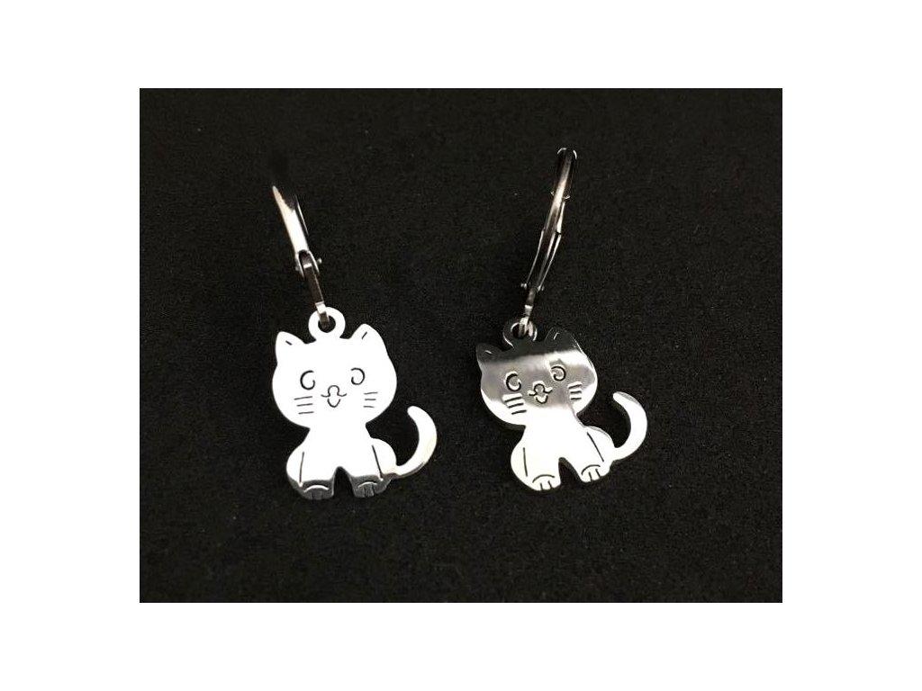 náušnice kočka s kočkou kočičí kotě chirurgická ocel 2