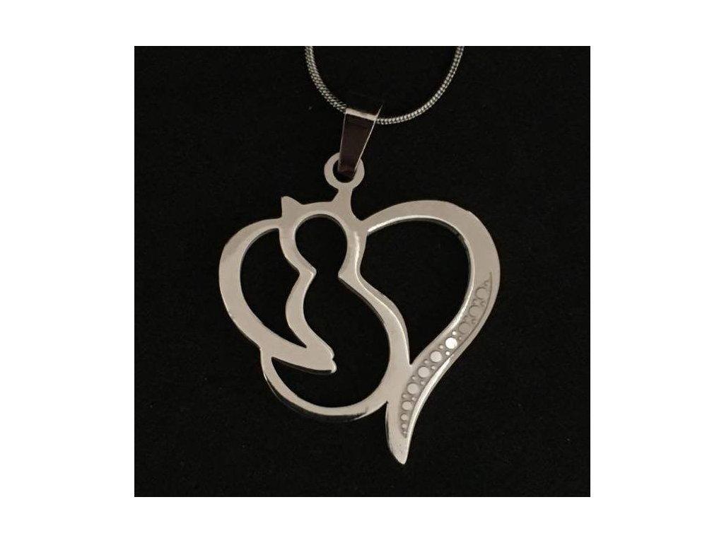 náhrdelník přívěsek kočka s kočkou srdce chirurgická ocel