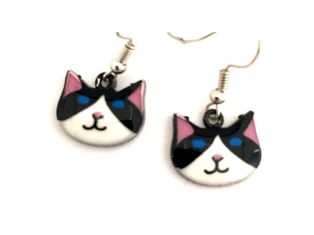 náušnice kočka s kočkou kočičí emailové