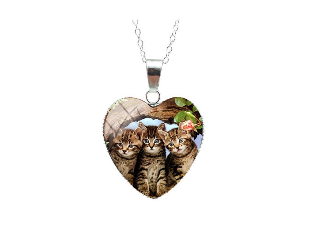přívěsek náhrdelník kočka s kočkou kočičí kotě srdíčko