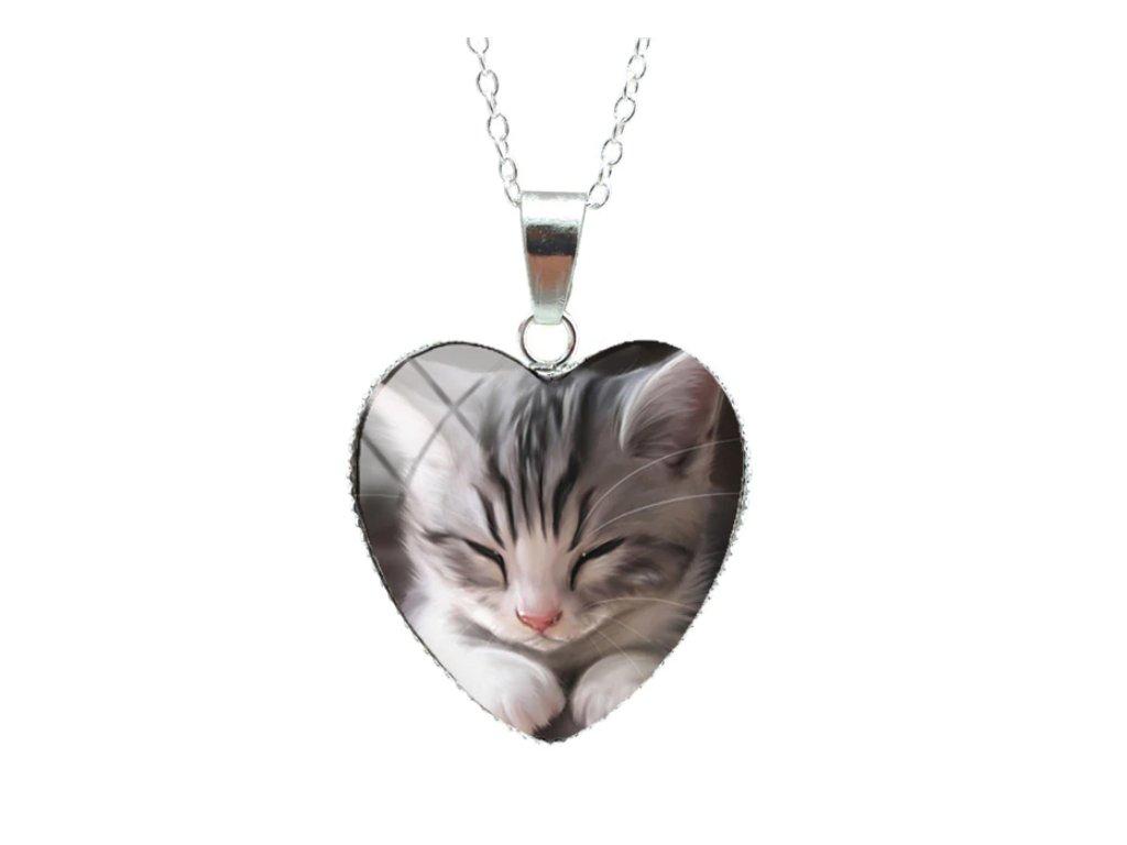 náhrdelník přívěsek kočka s kočkou kočičí kotě srdíčko