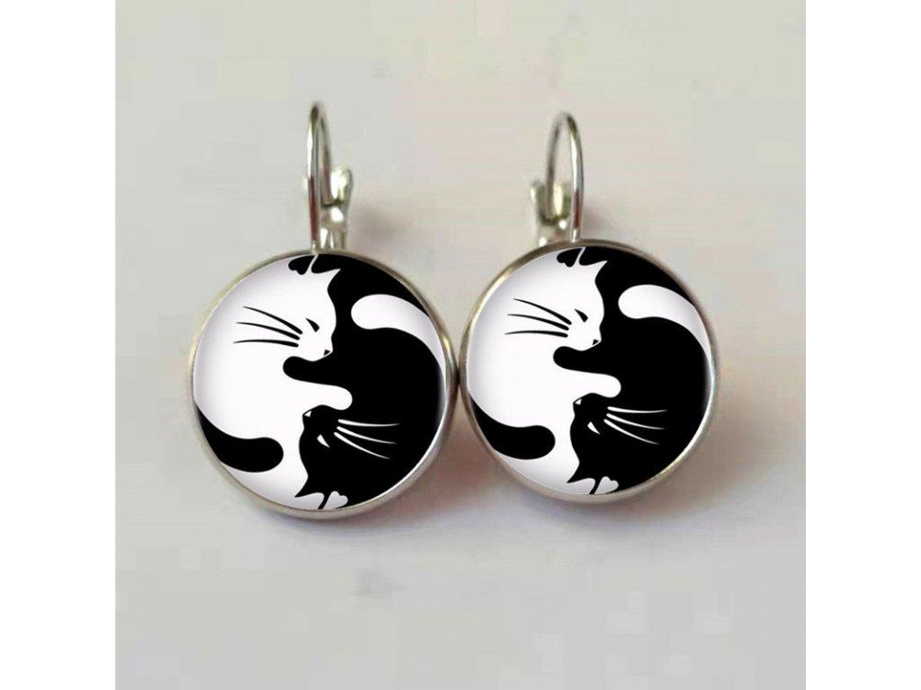 náušnice kožené kočka s kočkou kočičí jin jan visící