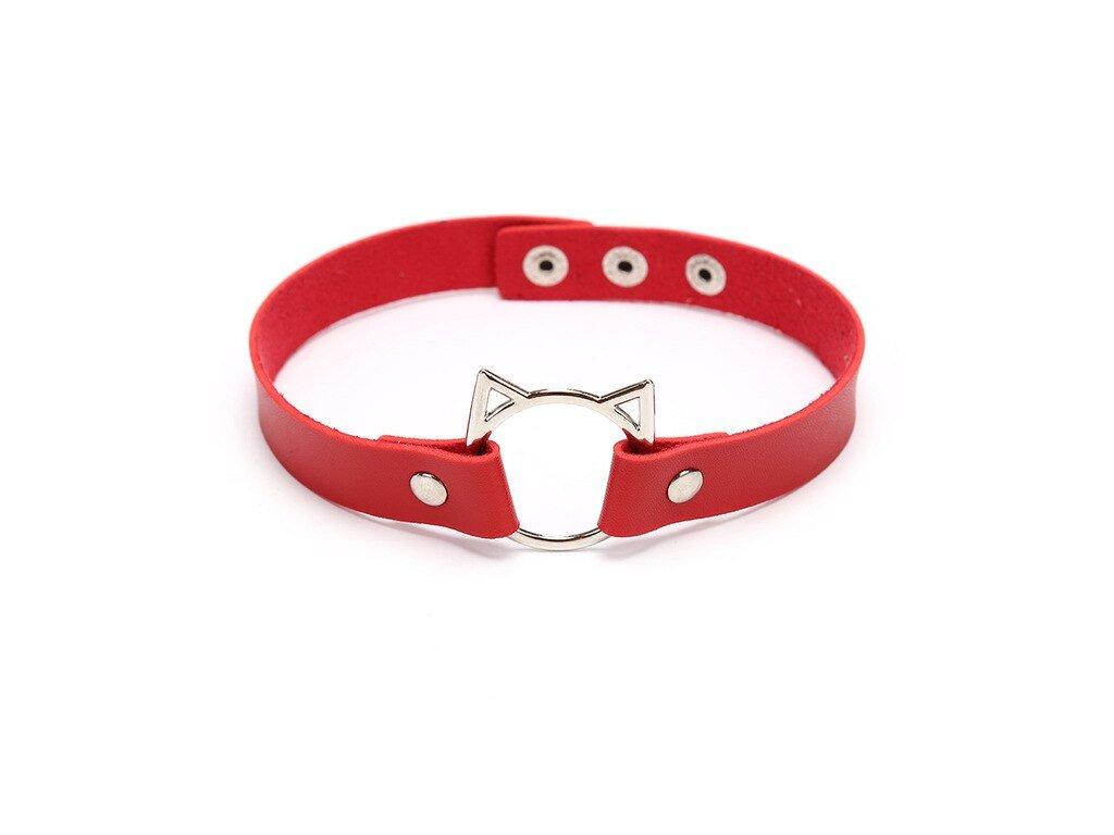 náhrdelník obojek kočka s kočkou kočičí punk rock červený