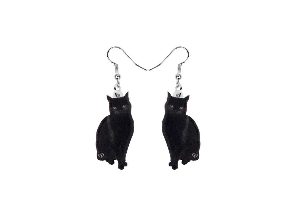 náušnice černá kočka s kočkou kočičí