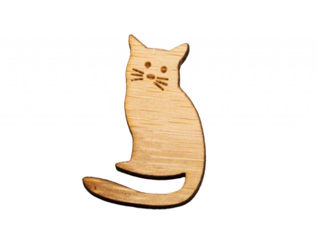 dřevěná brož kočka s kočkou kočičí kočička špendlík