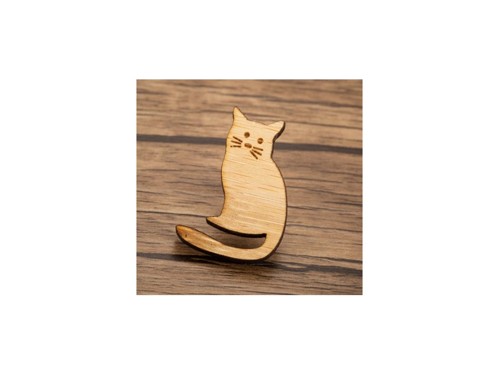 brož kočka s kočkou kočičí dřevěná