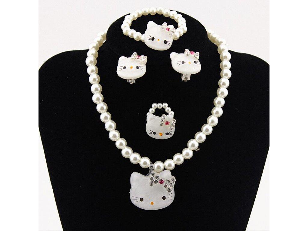 sada šperků náramek prsten náušnice náhrdelník kočka s kočkou hello kitty