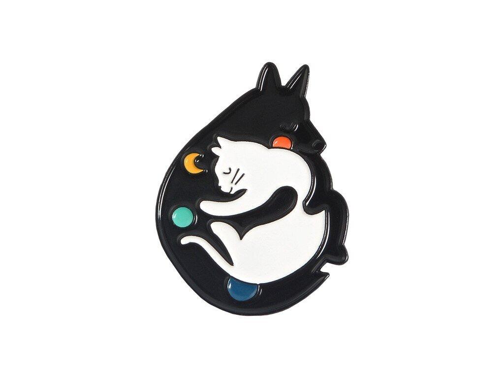 brož kočka s kočkou kočičí černá bílá