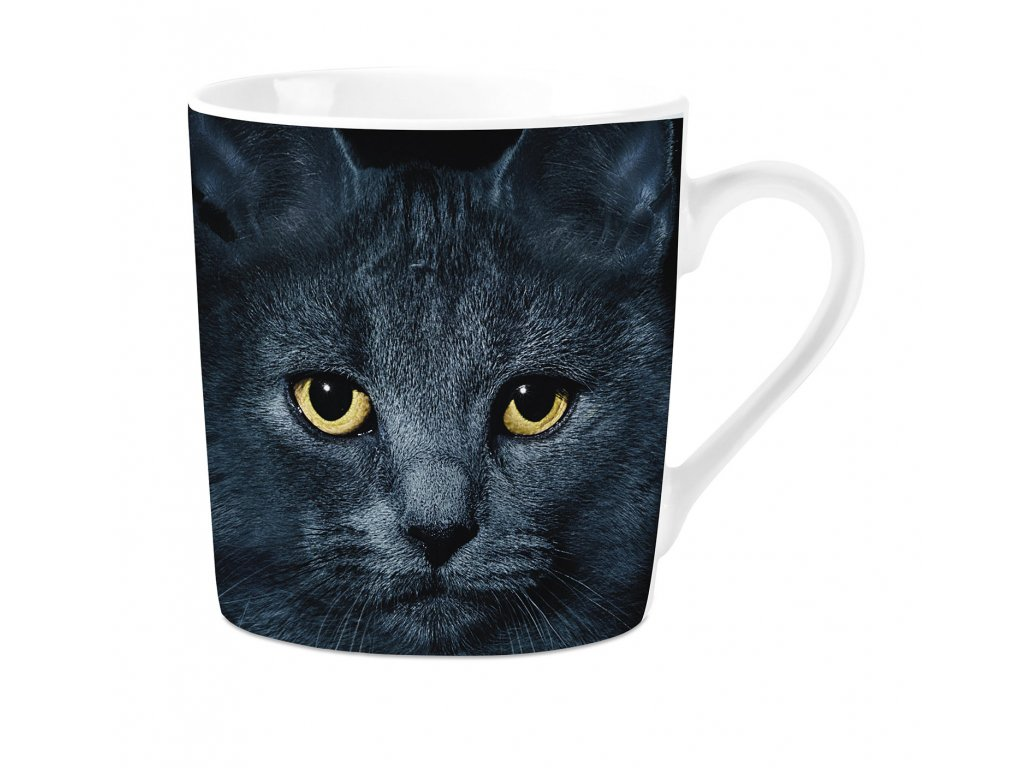 hrnek porcelán kočka s kočkou kočičí černý kocour