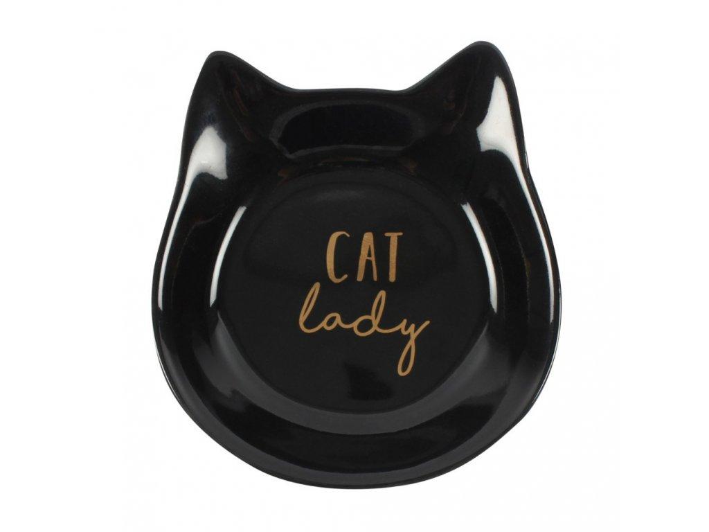 tácek miska na šperky kočka s kočkou kočičí hlava černá