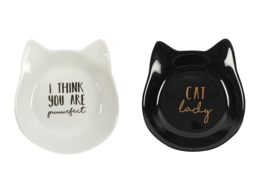 miska na šperky kočka s kočkou kočičí hlava černá bílá