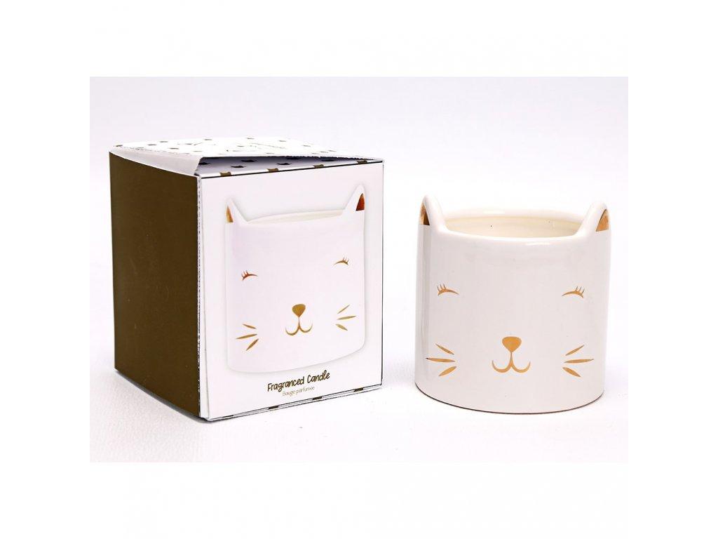 aromasvíčka kočka s kočkou kočičí keramická