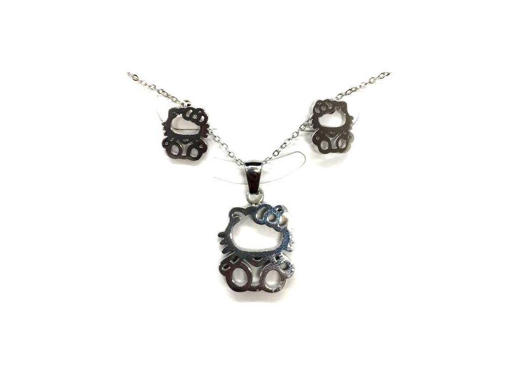 sada set náhrdelním náušnice ocel kočka s kočkou kočičí hello kitty 3