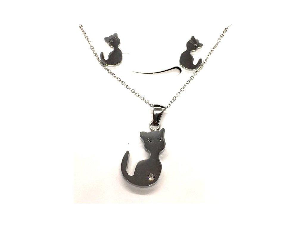 sada set náhrdelním náušnice ocel kočka s kočkou kočičí krystal