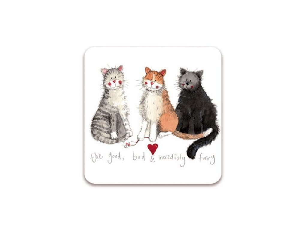 tři kočky podtácek kočka s kočkou kočičí alex clark