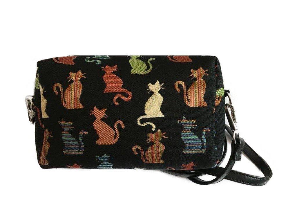 kabelka kočka s kočkou kočičí vyšívaná 1 černá