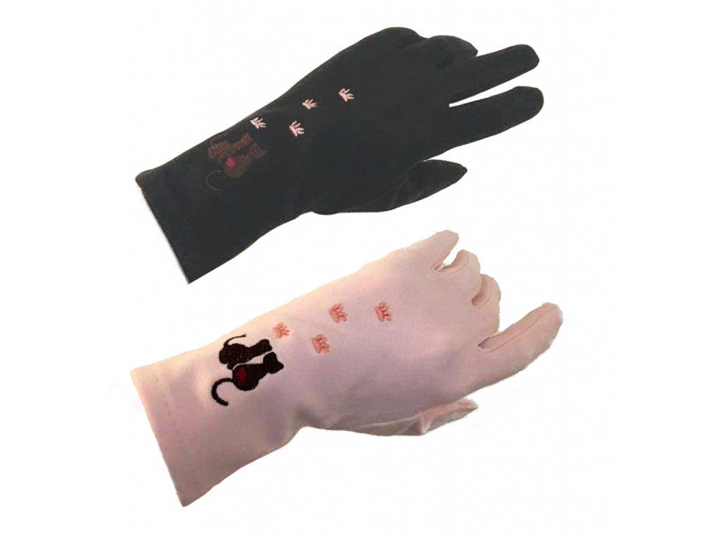 rukavice kočka s kočkou kočičí vyšívané dotykové prstové (1)