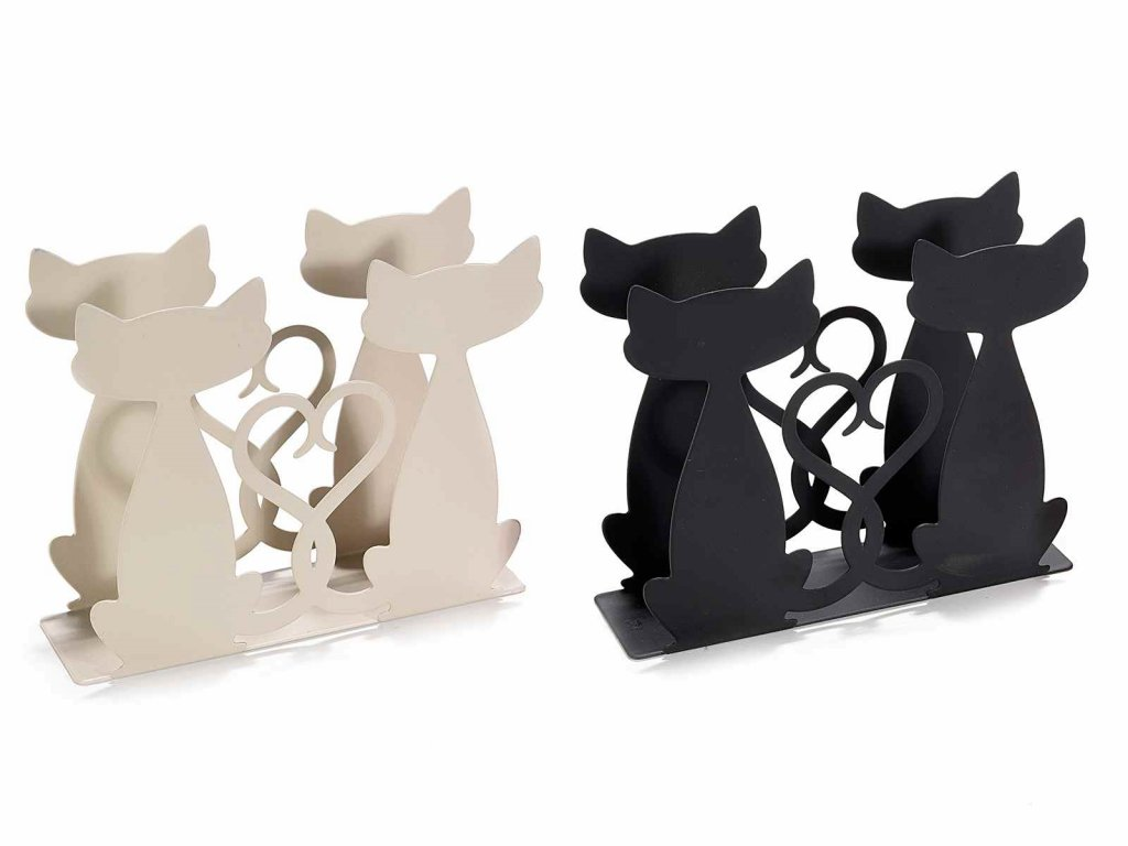 kovový stojánek na ubrousky kočka s kočkou kočičí černý bílý