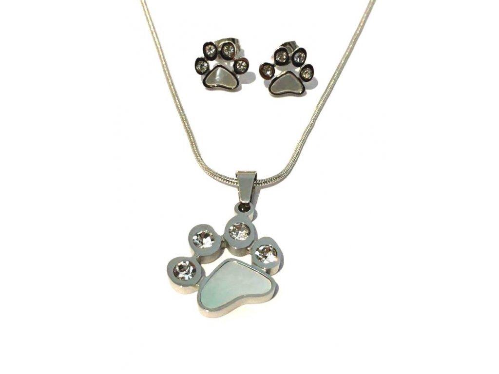 sada set náhrdelník náušnice chirrugická ocel kočka s kočkou kočičí tlapka
