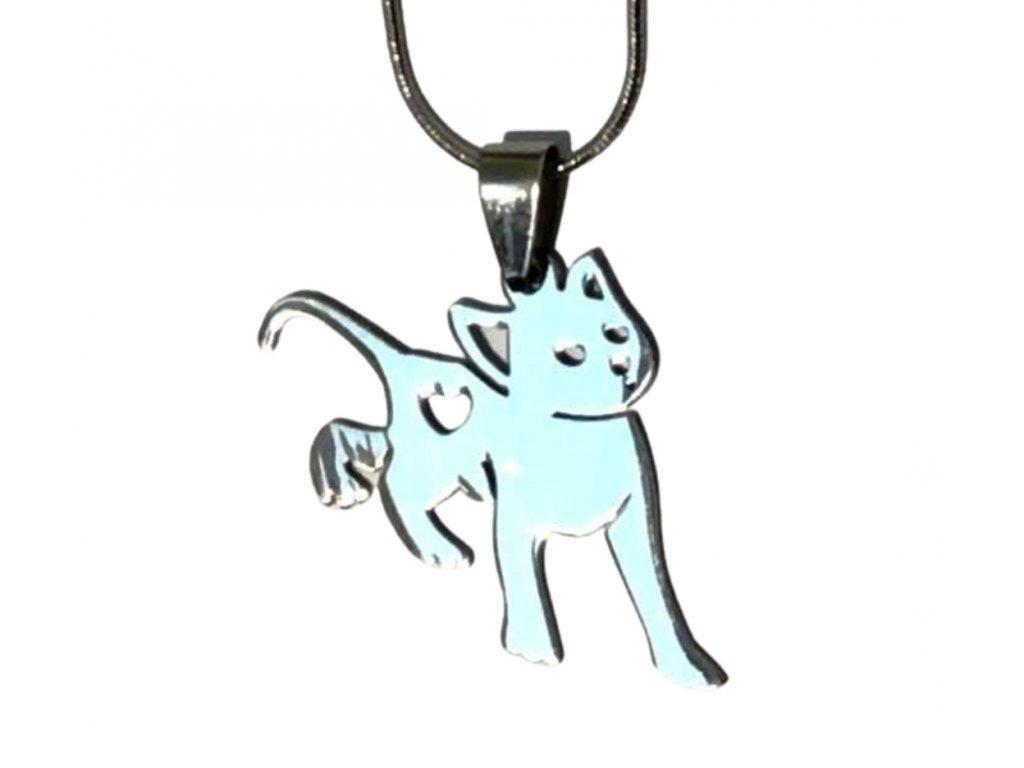 náhrdelník přívěsek kočka s kočkou kočičí srdíčko