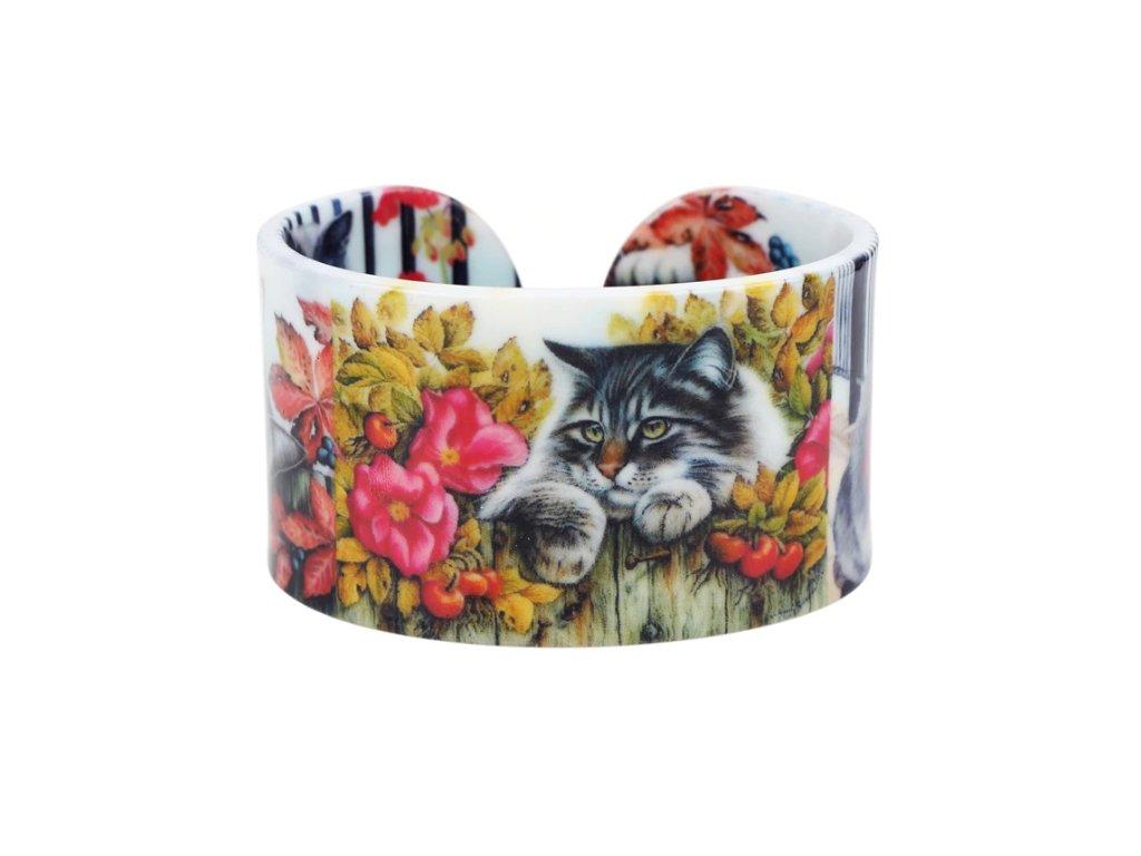 náramek kočka s kočkou kočičí malovaný 6