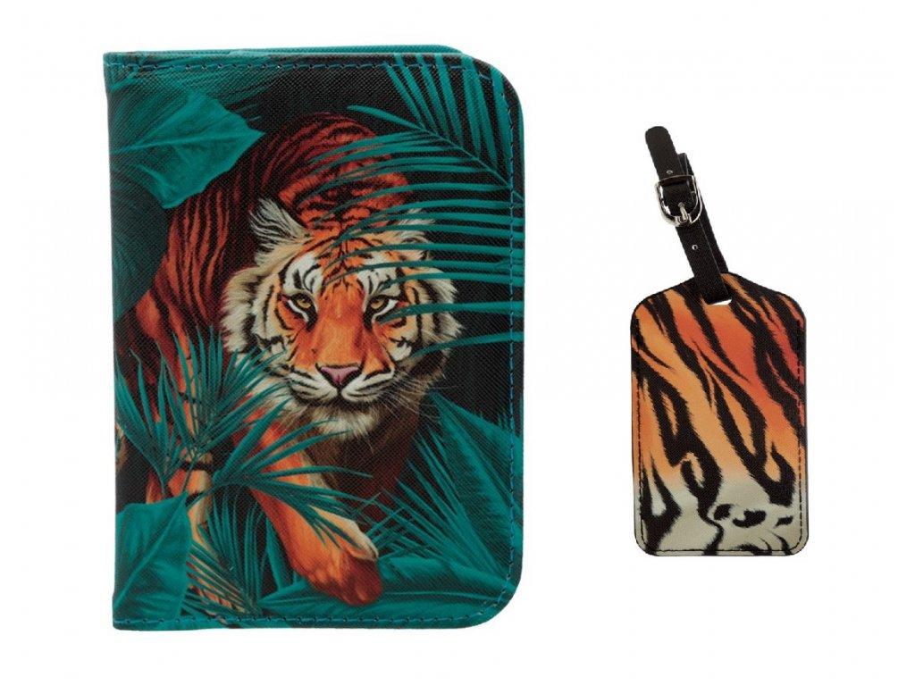sada pouzdro na pas a visačka na zavazadlo kočka s kočkou kočičí tygr 7
