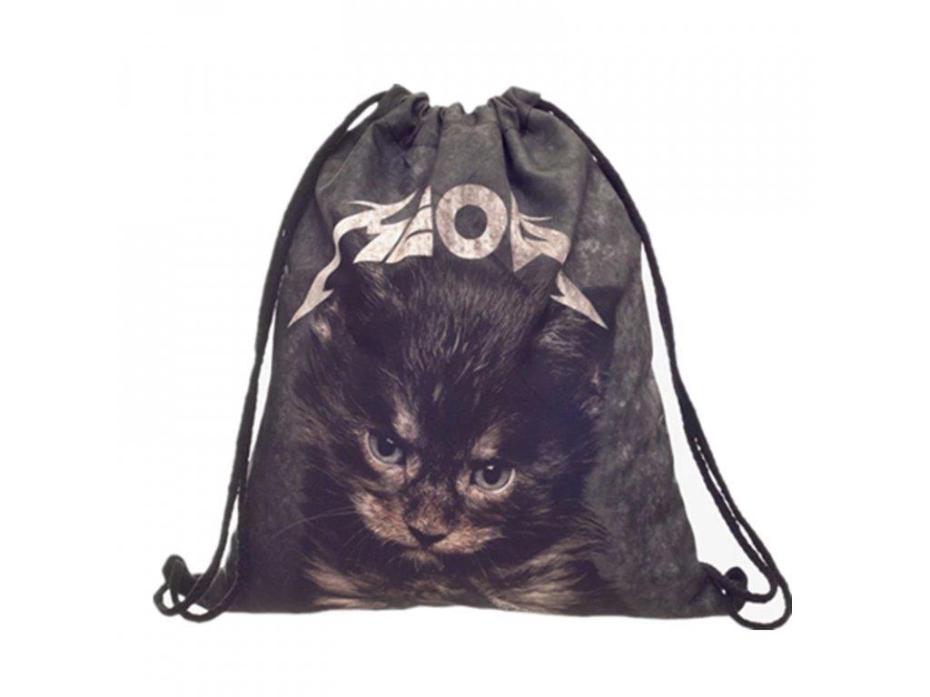 metalové kotě batoh batůžek kočka s kočkou kočičí 3