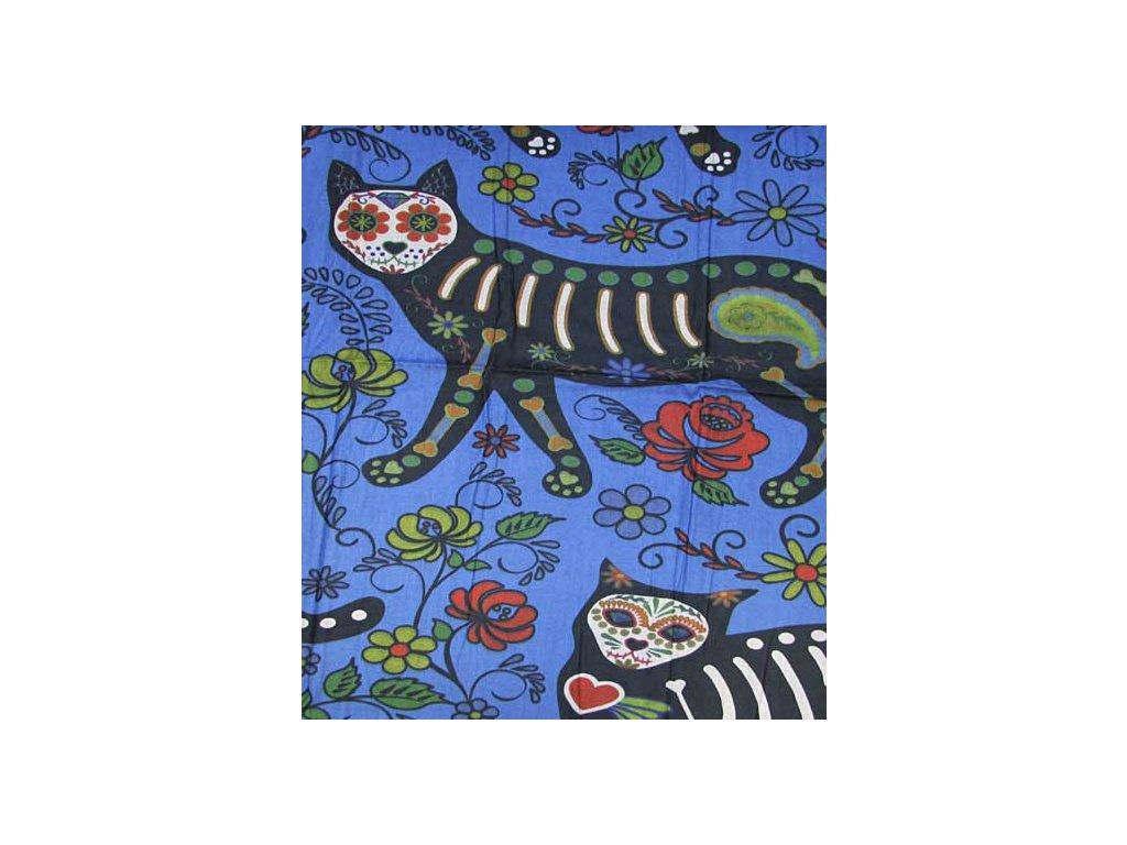 šála šátek kočka s kočkou kočičí sugar skull 2