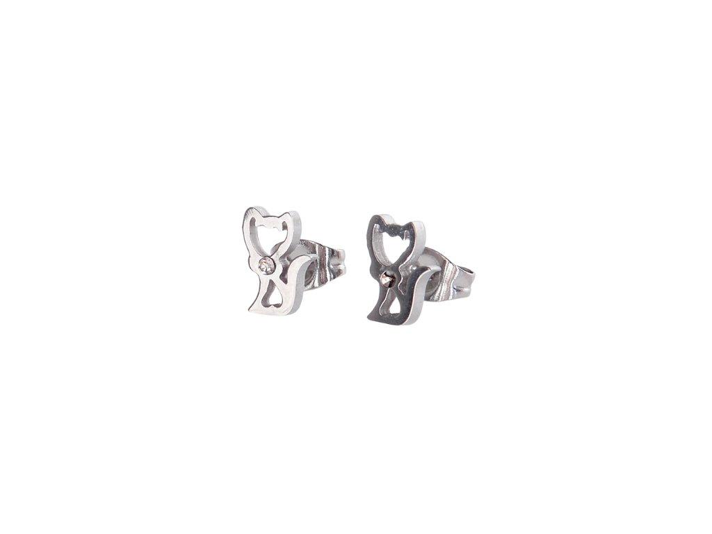 náušnice kočka s kočkou kočičí kotě chirurgická ocel pecky