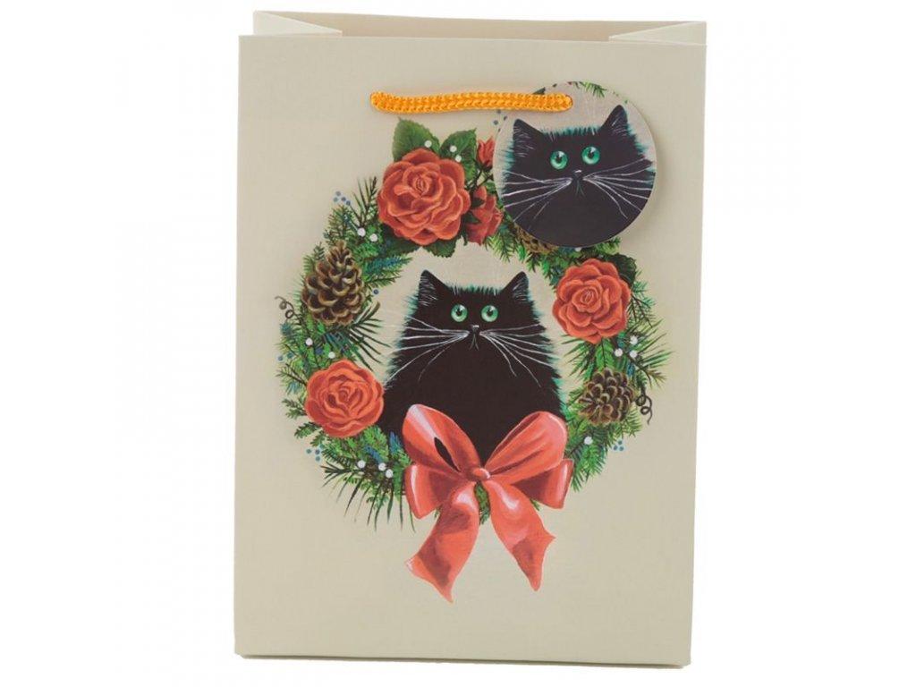 dárková taška vánoční kočka s kočkou kočičí kim haskings 2