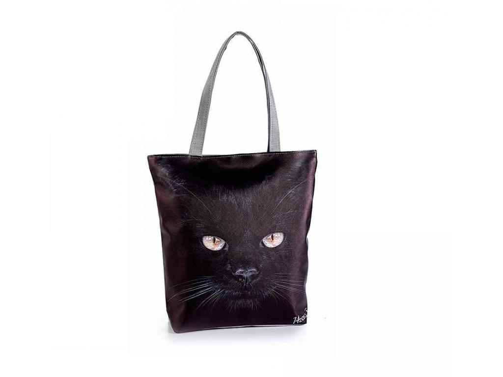 koženková velká kabelka kočka s kočkou kočičí černá