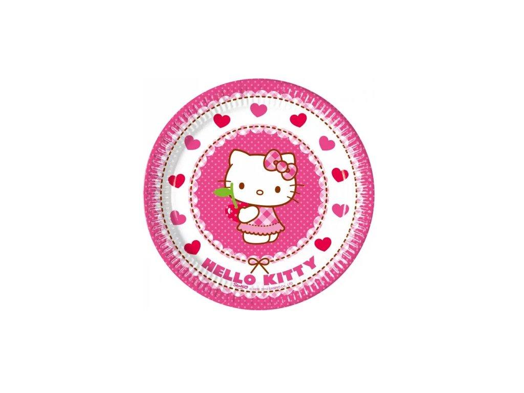 sada papírových talířů kočka s kočkou kočičí Hello Kitty 8 ks