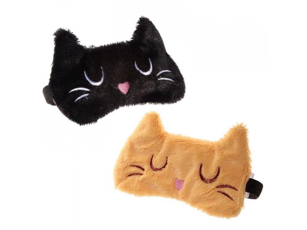 Maska na oči na spaní kočka II - černá, zrzavá