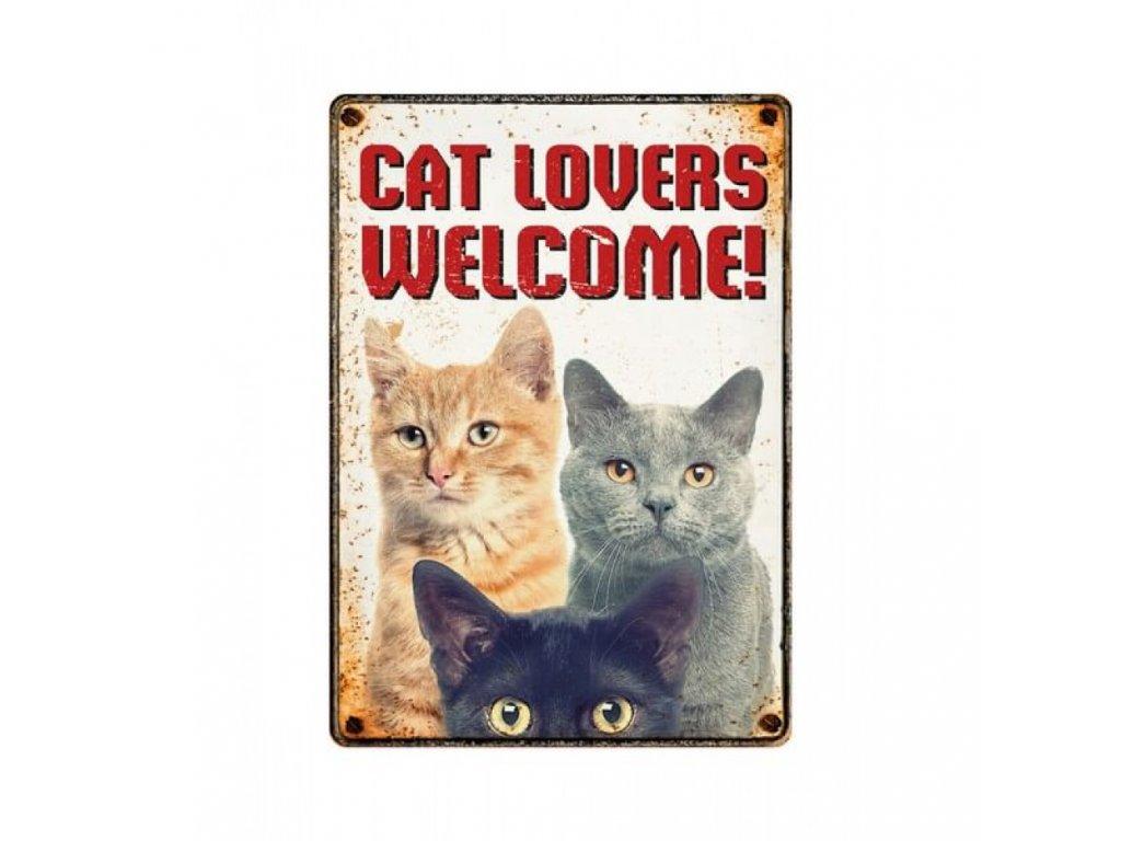 cedule kočka s kočkou kočičí plechová