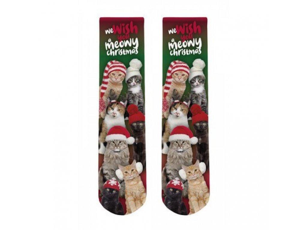 vánoční ponožky kočka s kočkou kočičí